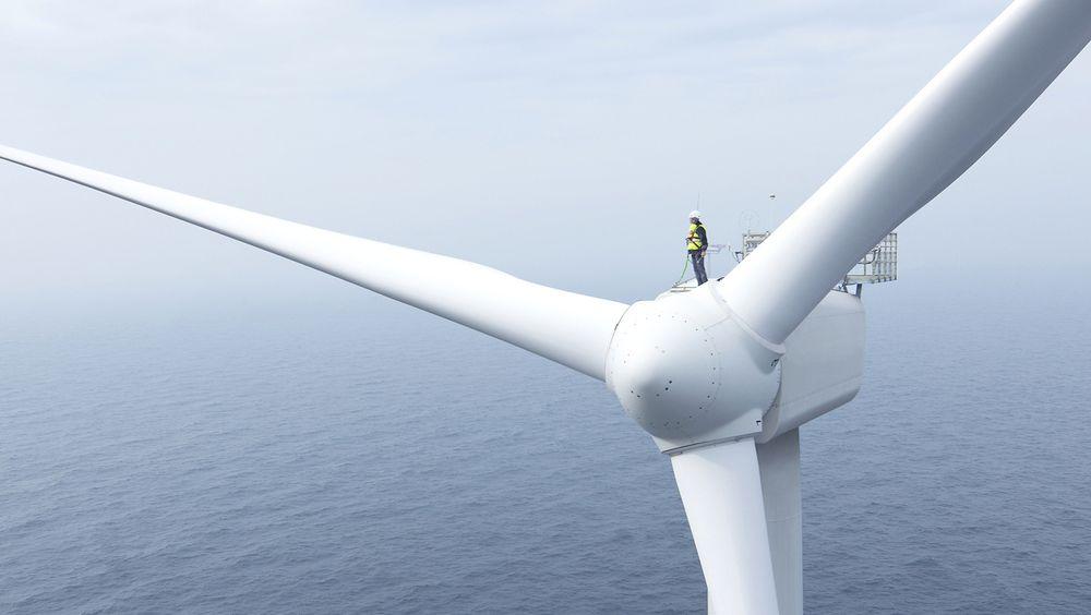 Vindturbin på Rentel vindpark utenfor Belgia