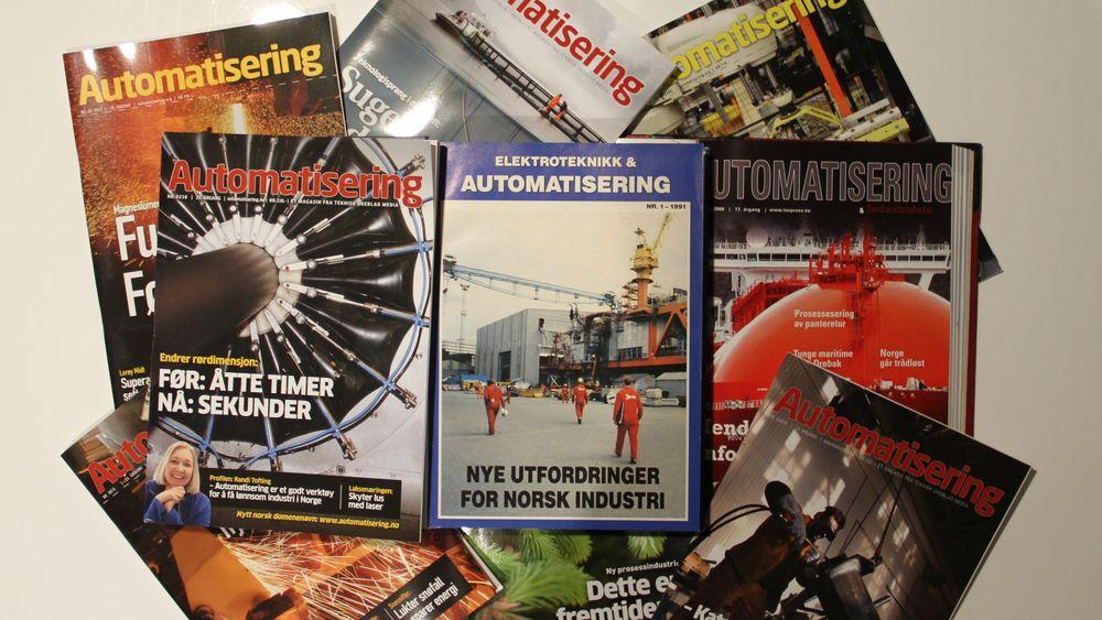 Et lite utvalg blader, med førsteutgaven fra 1991 i sentrum.