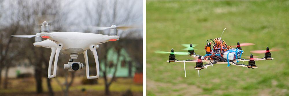 Det er visst fordeler med å eie en drone som den til høyre, kontra den til venstre, her eksemplifisert med DJI Phantom 4.