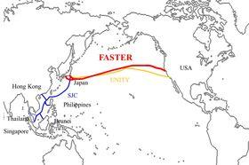 Faster-kabelen (rød linje) følger omtrent samme trasé som den eksisterende Unity-kabelen.