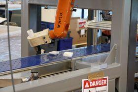 """""""Isoporfisk"""" på samlebåndet. Roboten skal lære seg til å se former og finne flekker som den skal fjerne fra fiskefileter."""