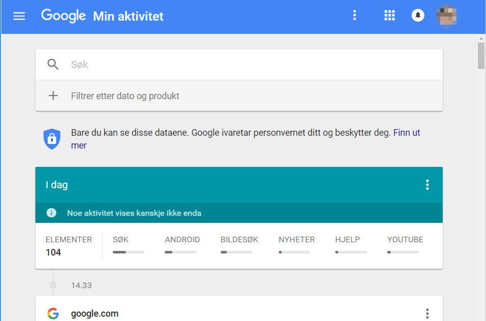 Googles nye Min Aktitivet-side viser data som selskapet har samlet inn om brukeren, sortert etter dato og tjenester. .