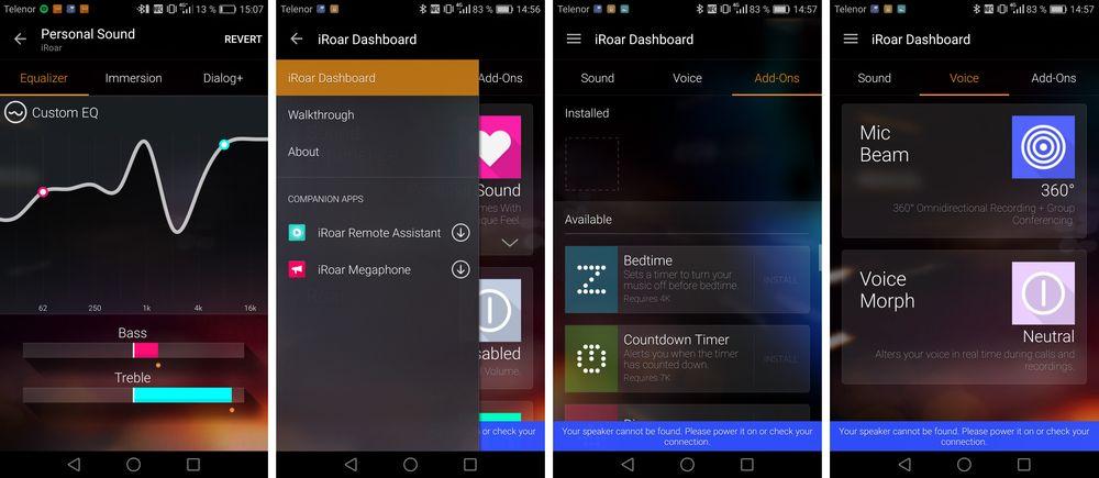 En omfattende app hører til systemet. Den er komplett med egne apper som kan installeres rett på høyttaleren.