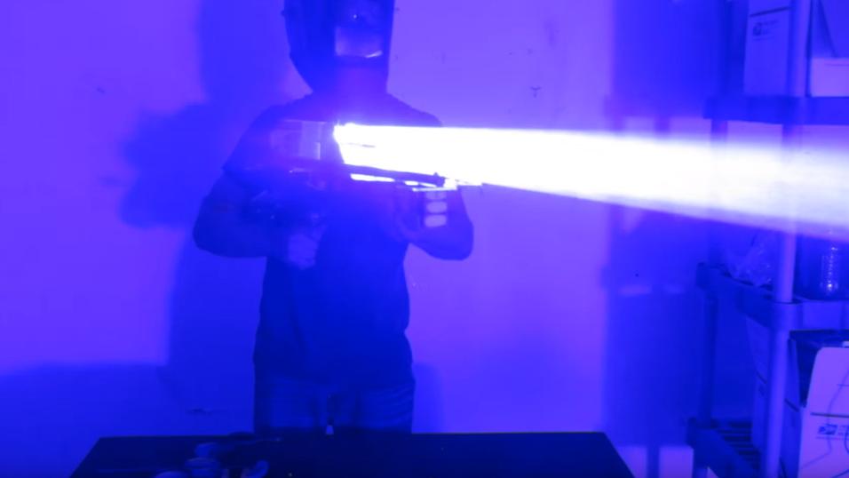 Laservåpenet i aksjon.