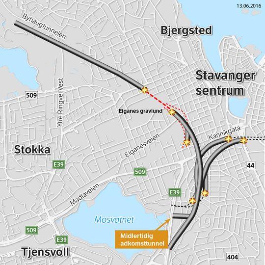 Det gjenstår nå kun 400 meter før Eiganestunnelen får gjennomslag. Kartet viser fremdriften i tunnelen, slik den krysser under byen.