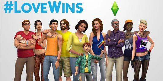 The Sims var det første spillet som (ved en tilfeldighet) omfavnet parforhold mellom mennesker av samme kjønn. Da ekteskap mellom homofile ble legalisert i juni 2015, twitret utviklerne dette bildet.