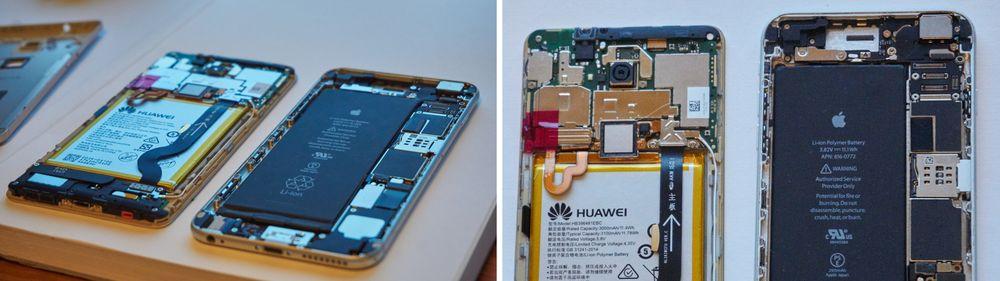 Apple har et betydelig mer stilrent design på innsiden enn Huawei, og legger også opp til at telefonene skal være enkle å reparere.