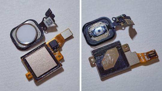 Apples (øverst) og Huaweis fingeravtrykkslesere. Her har Huawei gjort en god jobb. Om man reparerer en iPhone er det mer eller mindre umulig å feste hjemknappen som originalt om den ikke kommer ferdigmontert på skjermen du bytter.