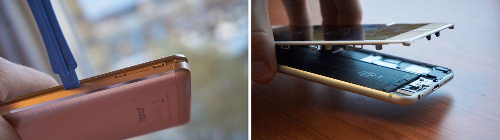 Å åpne Apples telefon er såre enkelt. Huawei Honor 5X derimot...