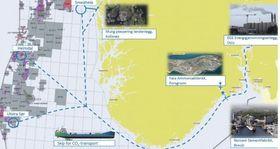 Mulighetsstudien tar for seg flere ulike verdikjeder for CO2-fangst og lagring. Illustrasjon.