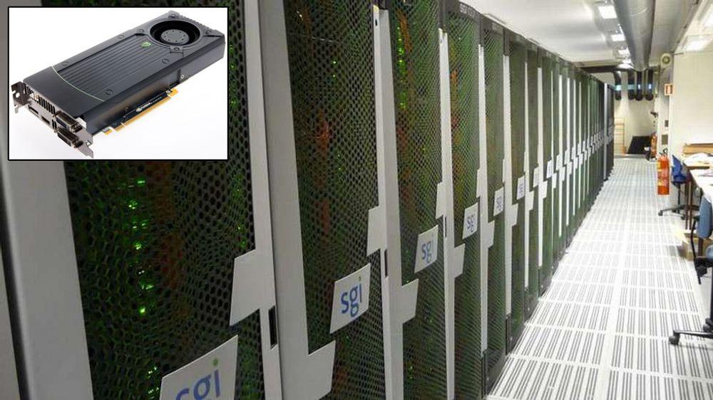 Serverrack som utgjør NTNUs superdatamaskin «Vilje». Innfelt er skjermkortet GeForce GTX 670 fra Nvidia.