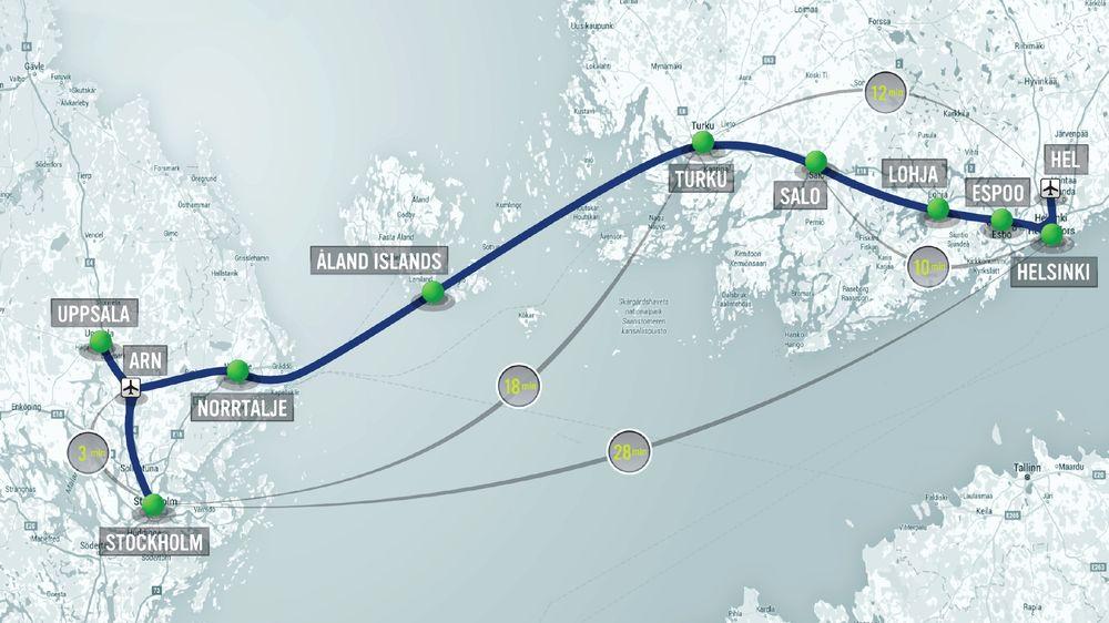 Slik er den foreslåtte Hyperloop-traséen fra Stockholm til Helsinki. Reisetiden mellom de to hovedstedene vil kunne bli 28 minutter.