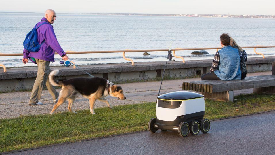 Små roboter som dette har begynt å rulle rundt i flere storbyer
