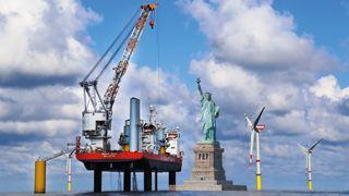 Installerer USAs første havvindpark: Det norske fartøyet vil ruve 40 meter høyere enn Frihetsgudinnen