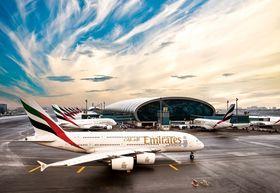 Veksten på DXB går hånd-i-hånd med veksten til Emirates. Her er ett av selskapets 80 A380-800.