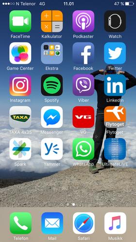 Min hjemskjerm:Sønsteby har relativt få apper installert. Mest av alt er det vel bakgrunnsbildet av ham selv fra toppen av Kilimanjaro som utmerker seg.