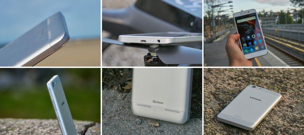 Detaljer fra Vibe K5-designet. Legg merke til glippen øverst i venstre hjørne, for å ta av bakdekselet, samt at hodetelefon- og strøminngan sitter i toppen begge to.