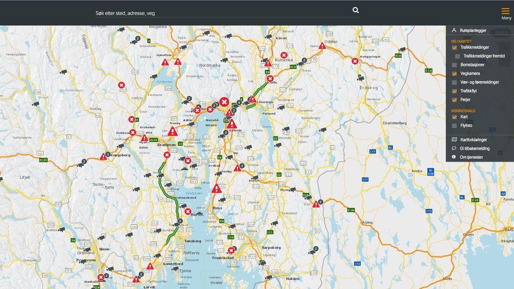 Skjermdump av den nye tjenesten Vegvesen trafikk