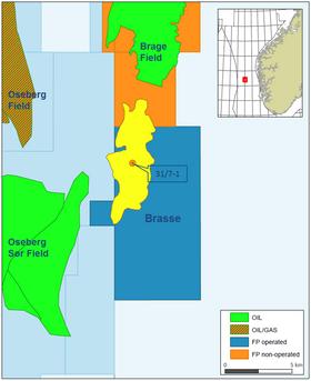 Brasse-funnet ligger nær både Brage-feltet og Oseberg-feltet.