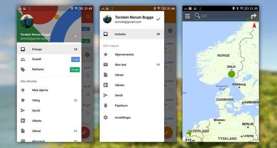 Fra venstre: Gmail, Lenovos mail-løsning og den ekstra kart-appen. Begge de to sistnevnte er både dårligere og helt overflødige.