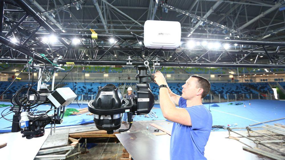 MRMC-robotrigg under montering på en OL-arena i Rio.