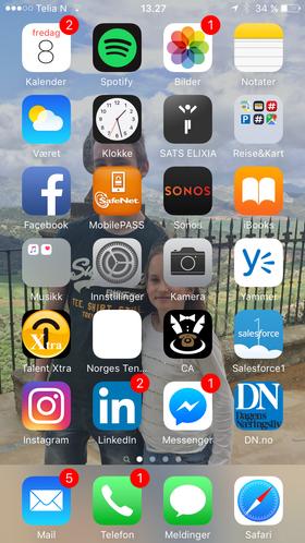 Min hjemskjerm: Trening, sosiale medier, regnskap, musikk, reise, kollektivapper og mer til.