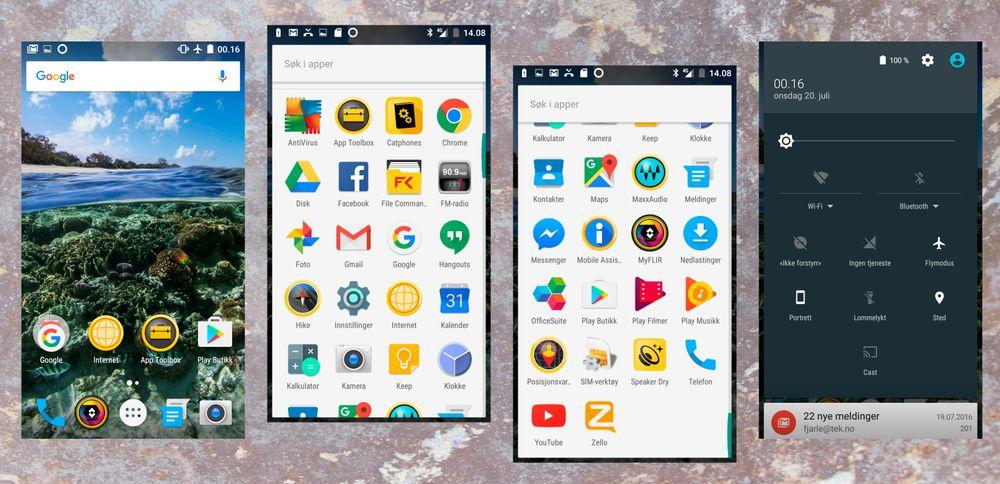 Deler av menydesignen i Cat S60 er ren Android, men det følger med fryktelig mange Cat-apper her, og de fleste av dem havner raskt på skraphaugen.