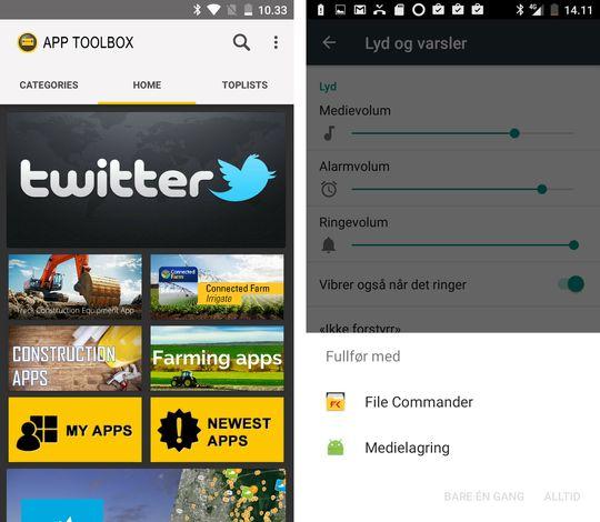 I App Toolbox kan du finne verktøy enten du til daglig jobber med traktor eller med gravemaskin. Men viktigste av alt er Twitter. Dette er et slags apputvalg for folk med fysisk aktive yrker, men vi snakker ikke om noen appbutikk. Alle lenkene leder inn i Google Play.
