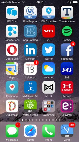 Min hjemskjerm: Norheim har flest apper av alle vi hittil har møtt i sommerintervju-spalten. Det inkluderer en rekke IBM-apper, og ikke så rent få svømme-relaterte innslag.