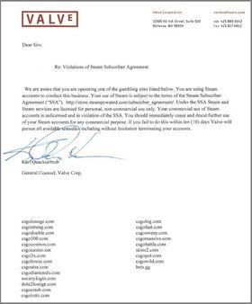 Brevet fra Valve advarer mot ulovlig bruk av Steam-kontoer.