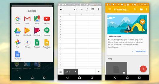Det er Google som står for Office-løsningen. Til venstre ses mappen med de fleste Google-appene.