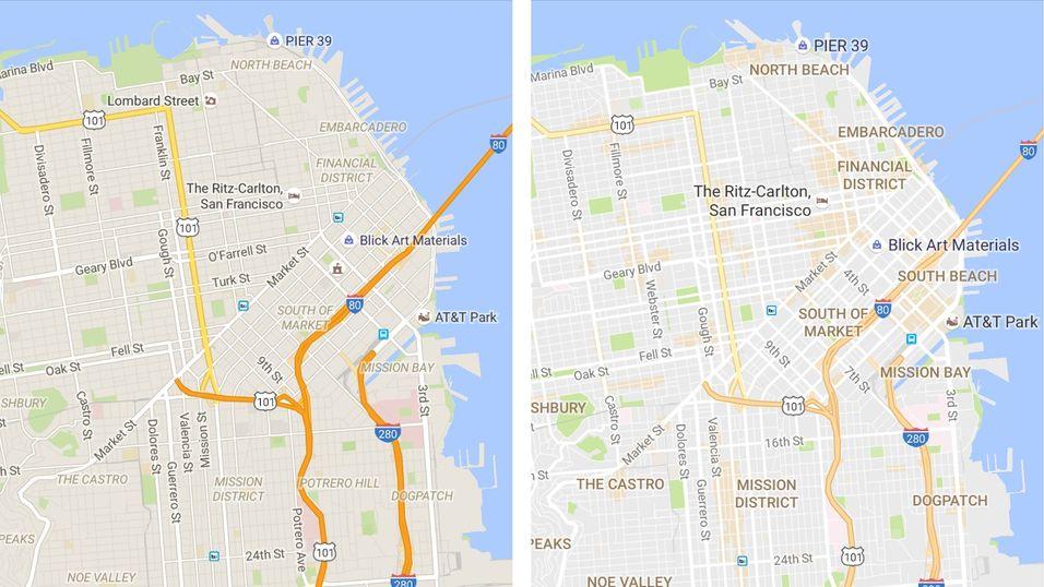 Til høyre ser du Google Maps etter oppdateringen. Visuelle elementer som omrisset til gatene er fjernet.