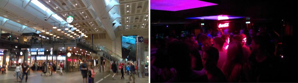 Å ta bilder i dunklere lysforhold er ingen god idé – hverken på Oslo S (venstre) eller nattklubber som Horgans (høyre).
