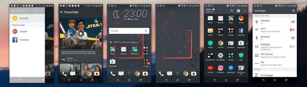 Slik ser HTC Sense-grensesnittet ut. Til venstre ser du nyhetsfeeden, til høyre innstillingene. Ved siden av sistnevnte er appmenyen.