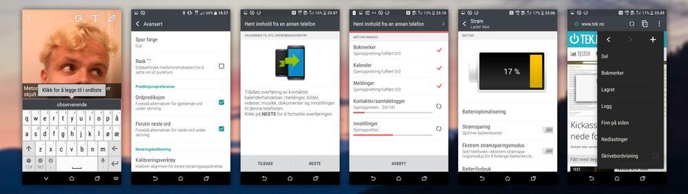 HTC Sense har med seg en rekke finurligheter. Til venstre: tastaturet og innstillingene dets. I midten: overføringsverktøyet fra en telefon til en annen. Til høyre: batterimenyen og nettleseren til HTC.