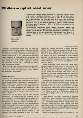 Ingeniør Uno Falk reder ut for utfordringene til elektriske biler i 1967.