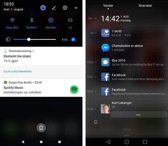 Varslingssenteret fra Huaweis Android 7-utgave til venstre, mens det til høyre er fra P9 Plus med Android 6.