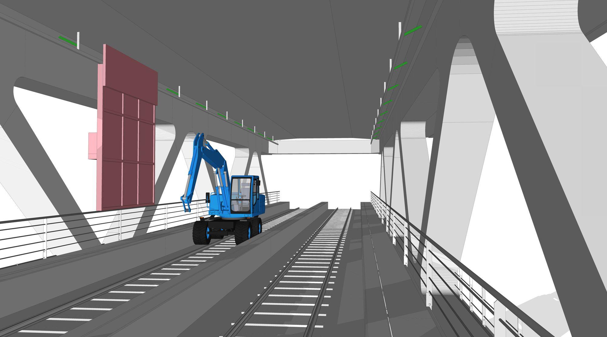 Krevende: To toglinjer går mellom de sikksakk-formede stålkonstruksjonene, inkludert en 26.000 volts kjøreledning. Malerobotene må skjermes fra spenningen og kjørende tog, samtidig som togene må skjermes fra å bli sprayet med maling.