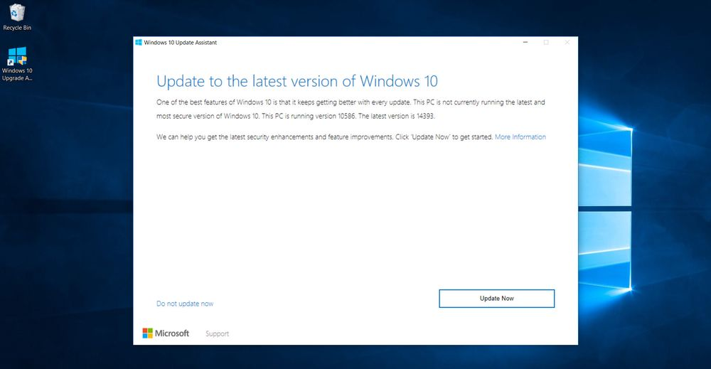 Installasjonen av Windows 10 Anniversary Update kan manuelt startes fra Windows Update eller som her, med et eget program som brukerne kan laste ned.