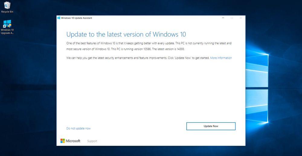 Installasjonen av Windows 10 Anniversary Update kan manuelt startes fra Windows Update eller som her, med et eget program som brukerne kan laste ned.