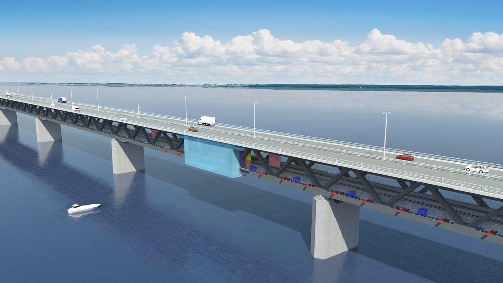 Øresundsbroen skal males over en 13-årsperiode, trolig ved hjelp av et plattformsystem med maleroboter som maler 20 meter brokonstruksjon av gangen. Maleplattformen ses i blått på illustrasjonen.