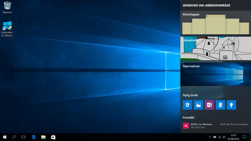 Windows Ink Workspace samler programmer som støtter bruk av penn på ett sted, samt lar deg kjapt opprette notater, skisser eller skjermskisser. Tips: Windows-tast og W bringer frem menyen.