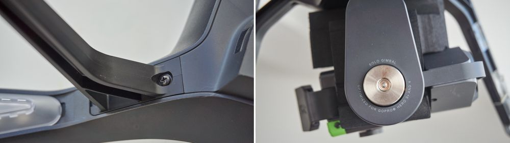 Både bein og gimbal må monteres før du kan fly.