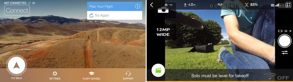 Slik ser startskjermen i Solo-appen ut før og etter at du er tilkoblet og har trykket på «Play»-knappen.