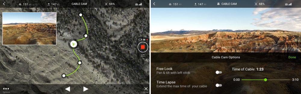 Cable Cam er lett å administrere i appen, og punktene kan flyttes virtuelt. Det er også noe innstillinger du kan pirke på (høyre).