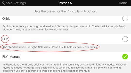 Her er modusen du skal holde deg til. Men siden vi er inne i hurtigtastmenyen har vi valgt manuell modus som hurtigvalg. Standardvalget er tross alt «Fly» i utgangspunktet ved oppstart.