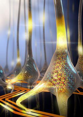 En kunstnerisk gjengivelse av en sett med stokastiske faseskiftnevroner. Bildet ble vist på forsiden av Nature Nanotechnology-utgaven som ble utgitt i går.