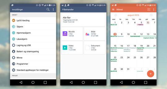 Innstillingene, filbehandleren og kalenderen fra LGs menysystem.