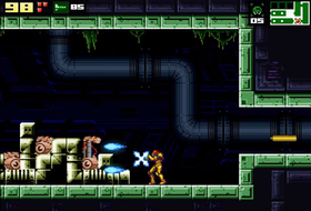 Skjermbilde fra traileren til AM2R: Another Metroid 2 Remake.