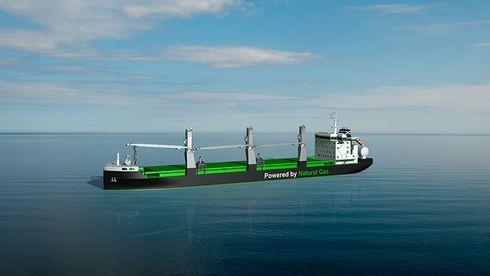 Nå bygges også bulkskip med gassframdrift